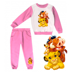 JOGGING FILLE SWEAT & PANTALON - IMPRIMÉ LION - ROSE - 1 à 4 ans -