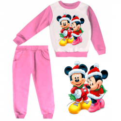 Joggin fille sweat & pantalon - imprimé Minnie & Mickey Noël - 1 à 4 ans