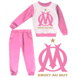 Joggin fille sweat & pantalon - imprimé OM Droit au But - 1 à 4 ans - rose